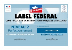 CAMPAGNE LABELS CLUBS ÉCOLES DE BILLARD 2020/2021
