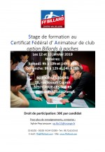 FORMATION AU CERTIFICAT FEDERAL D'ANIMATEUR DE CLUB OPTION BILLARDS A POCHES EN CENTRE-VAL DE LOIRE